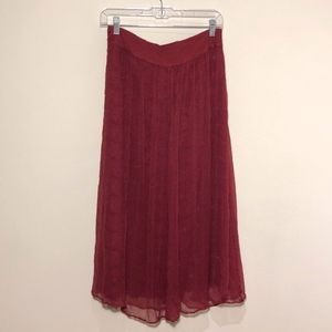 Red Lace Boho Maxi Skirt